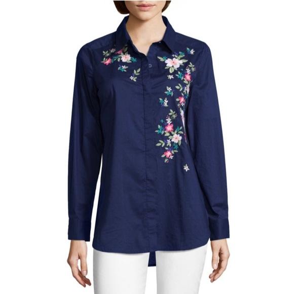 Lizwear Liz Claiborne Button Dot L//S Shirt-PINK-S-NWT
